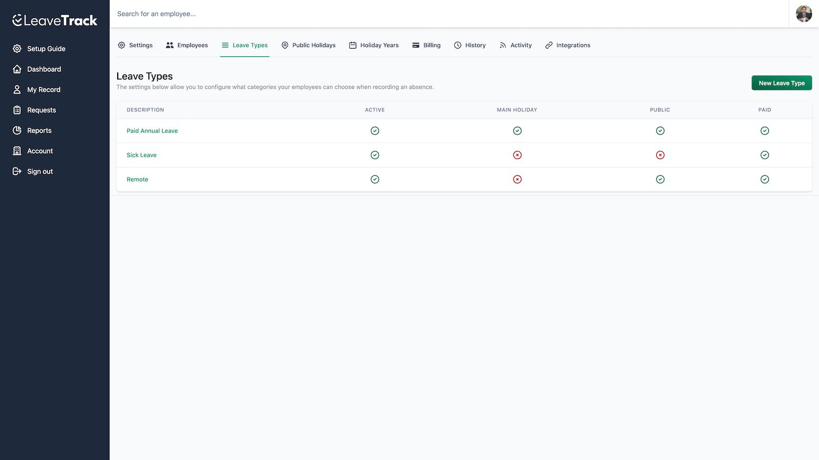 Dashboard user interface