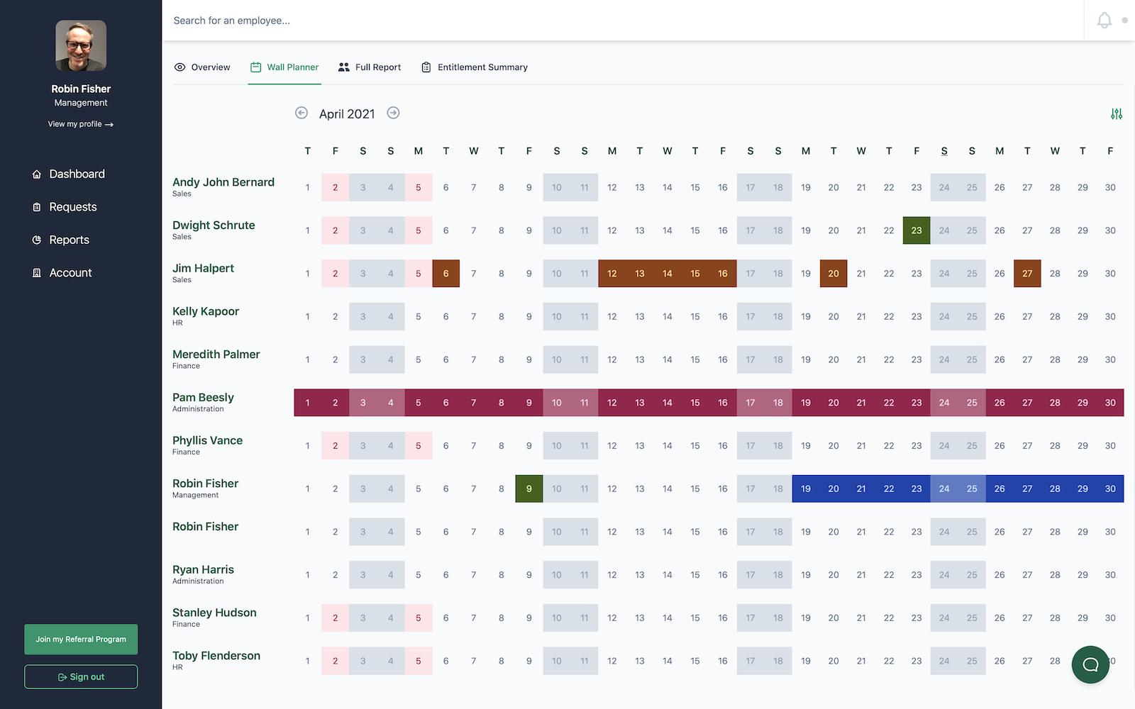 Screenshot of wall planner